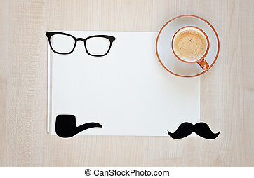 Coffee cup, mustache, glasses, smoking pipe and cup of...