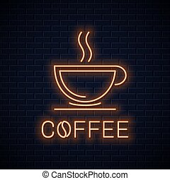 Coffee cup neon sign. Neon coffee banner on wall