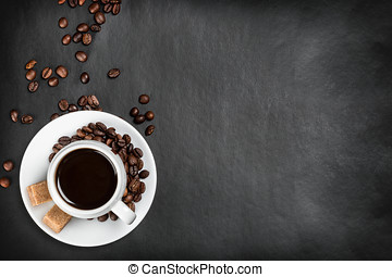 coffee cup on a black background