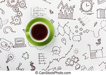 Coffee cup on background of business strategy