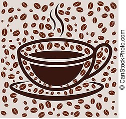 Coffee cup on bean filled background