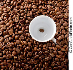 Coffee cup on beans background