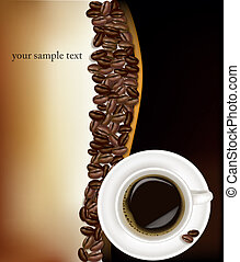 Coffee cup on black background.