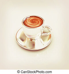 Coffee cup on saucer. 3D illustration. Vintage style.