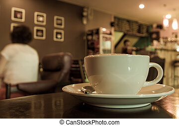 Coffee cup on the table coffee shop. - Coffee cup on the...