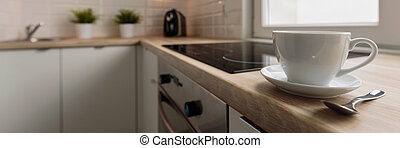 Coffee cup on the worktop - Porcelain coffee cup on the...