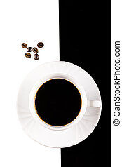 coffee cup on white and black
