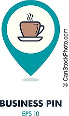 Coffee cup outline pin map icon. Business sign
