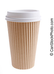 Paper coffee cup on plain background