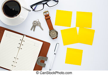 coffee cup, pen, notebook and accessory for work on white background