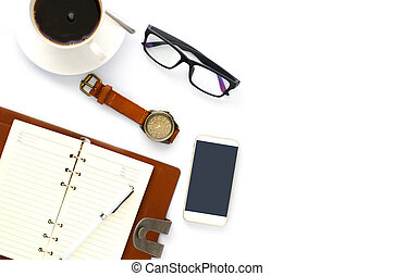 coffee cup, pen, notebook and glasses on white background