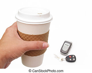 coffee cup, phone and keys