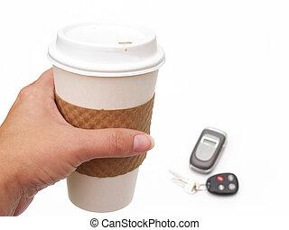 coffee cup, phone and keys