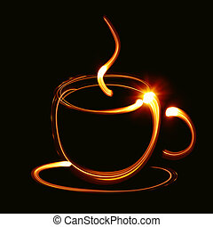 Coffee cup pictured by light