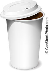 Coffee cup - Plastic cup of coffee with an open lid