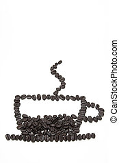 Roasted coffee beans arranged into coffee cup