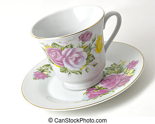 Coffee Cup & SaucerCoffee Cup & Saucer - Tilted fancy coffee...