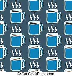 Coffee cup. Seamless pattern with doodle coffee mugs and steam. Hand-drawn background. Vector illustration.
