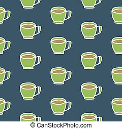 Coffee cup. Seamless pattern with doodle coffee mugs. Hand-drawn background. Vector illustration.