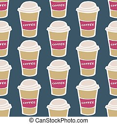 Coffee cup. Seamless pattern with doodle paper cups. Hand-drawn background. Vector illustration.