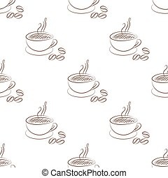 coffee cup seamless isolated on white background.