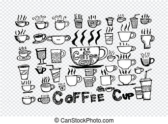 Coffee cup set hand drawing