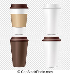 Coffee Cup Set Isolated Transparent Background