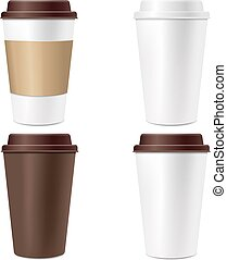 Coffee Cup Set Isolated White Background
