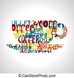 Colorful coffee cup shape . EPS10 file version. This illustration contains transparencies and is layered for easy manipulation and custom coloring