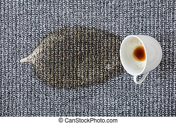 Coffee Cup Spilled On The Carpet