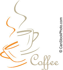 The cup of coffee divided into two halves - stylized image. Illustration can be used to design menu restaurant or cafe.