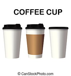 Coffee Cup Three Cup Of Coffee White Background Vector Image
