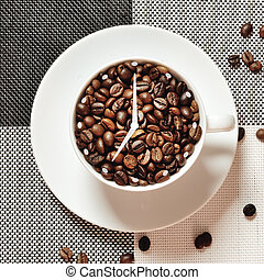 coffee cup time clock - wake up breakfast concept