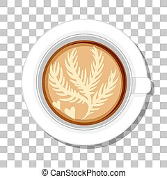 Coffee cup top view isolated on transparent background