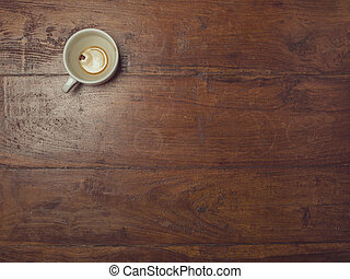 coffee cup, top view of the table