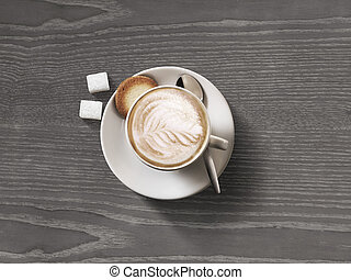 Coffee cup top view on dark wood table background