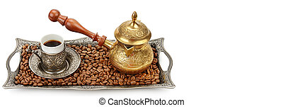 Coffee cup, tray and coffeepot isolated on a white background. Free space for text. Wide photo .