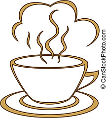 Coffee cup with fragrant steam. Morning, a breakfast, good...