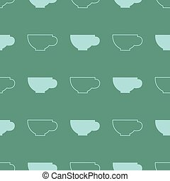 Coffee cup vector seamless pattern.