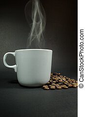 Coffee cup white with smoke, black background.