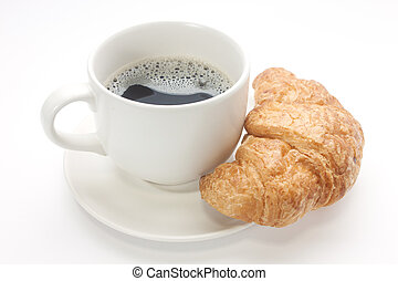 Coffee cup with a croissant isolated