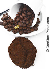 Coffee cup with a gold seed