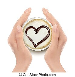 Coffee cup with a heart and hands. Vector.