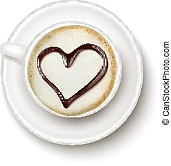 Coffee cup with a heart. Vector.