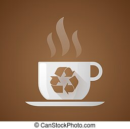 Coffee cup with a recycle sign