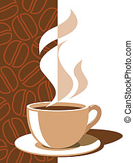 Coffee cup with aroma steam on a brown background with coffee beans