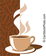 Coffee cup with aroma steam on a brown background with coffee beans, vector illustration.