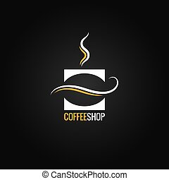 coffee cup with bean logo vector background