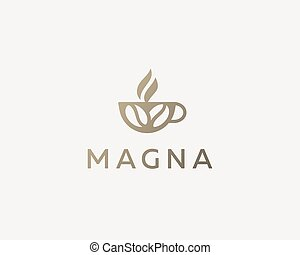 Coffee cup with beans logo design vector template.