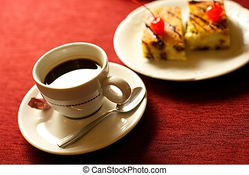 coffee cup with cakes